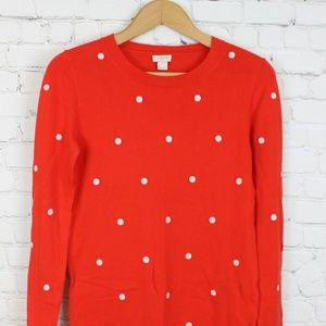 J. Crew Red and White polka dot Sweater XS GUC